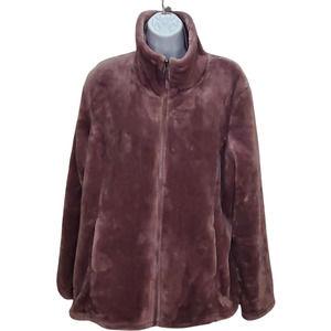 32 Degree Heat Sweater Jacket Soft Fleece Turtle Neck Purple XL Zipped Pockets